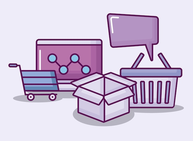 Laptopcomputer met elektronische bedrijfspictogrammen Gratis Vector