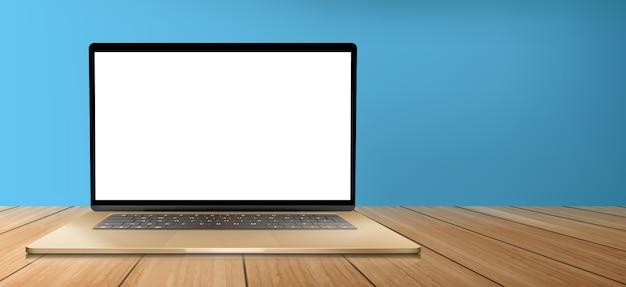 Laptopcomputer met wit scherm op houten tafel Gratis Vector