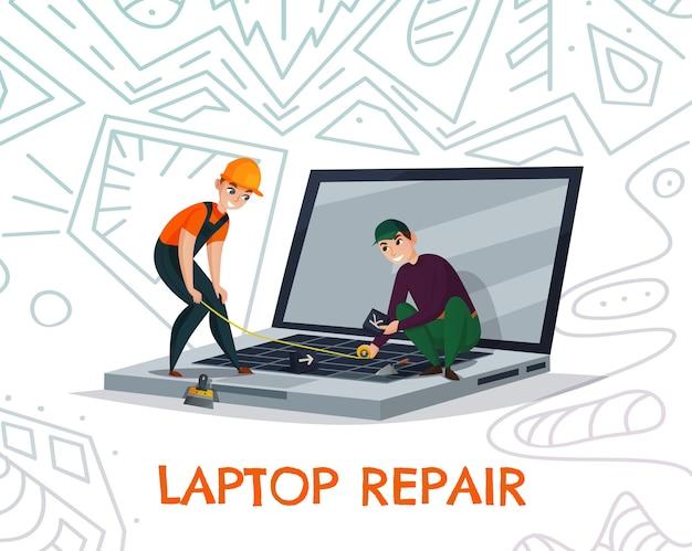 Laptopreparatie met werksymbolen voor elektronica en technologie Gratis Vector