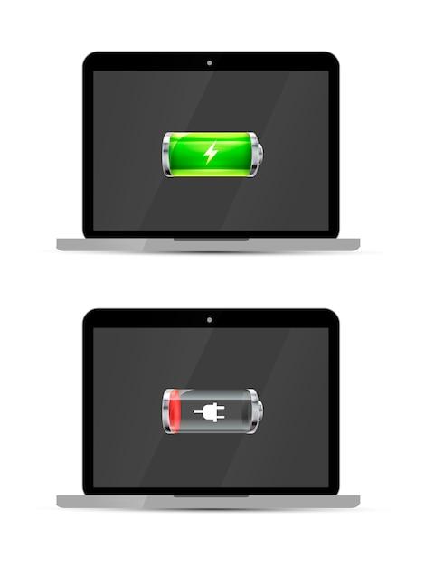 Laptops met volledige en lege glanzende batterij, geïsoleerd Premium Vector