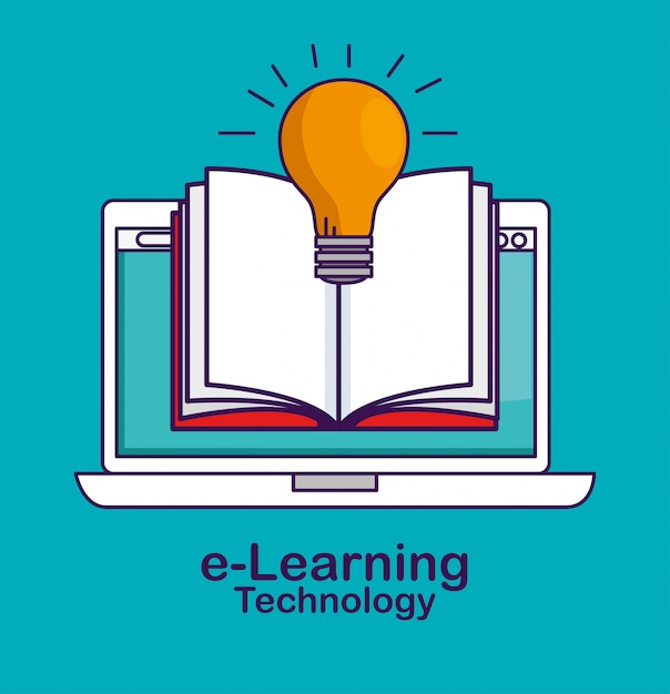 Laptoptechnologie met boek en bolidee Gratis Vector