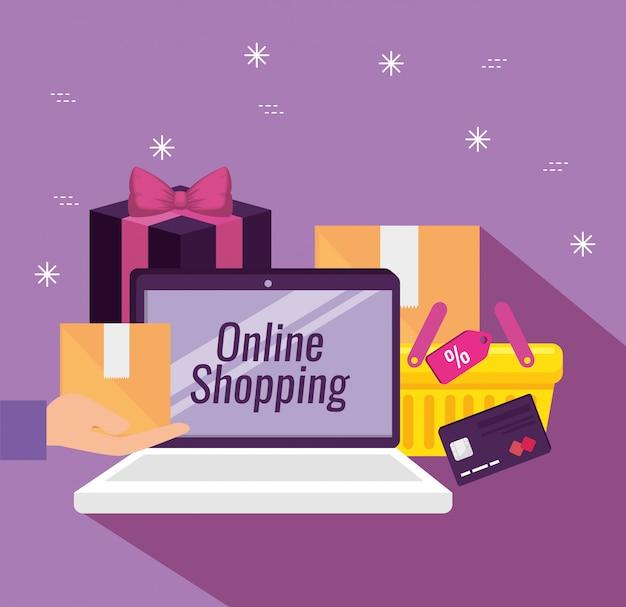 Laptoptechnologie met pakketten en creditcard Gratis Vector