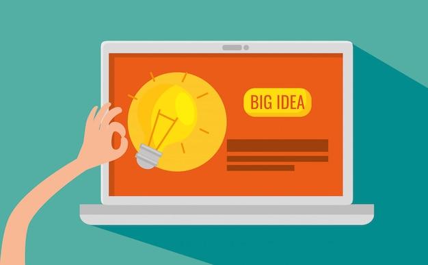 Laptoptechnologie met website bedrijfsstrategie Gratis Vector