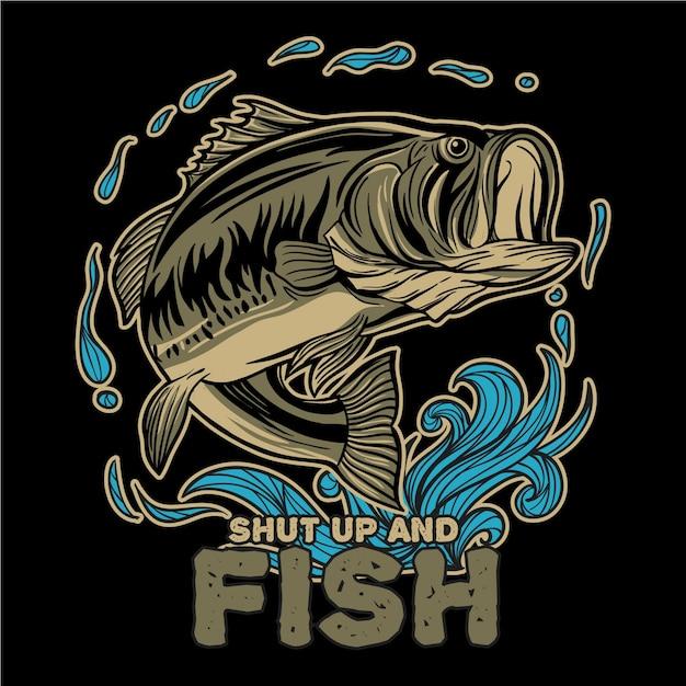 Largemouth bass vissen met water splash en typografie shut up and fish Premium Vector