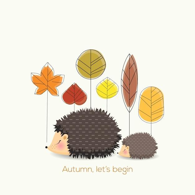 Laten we beginnen met de herfst Premium Vector