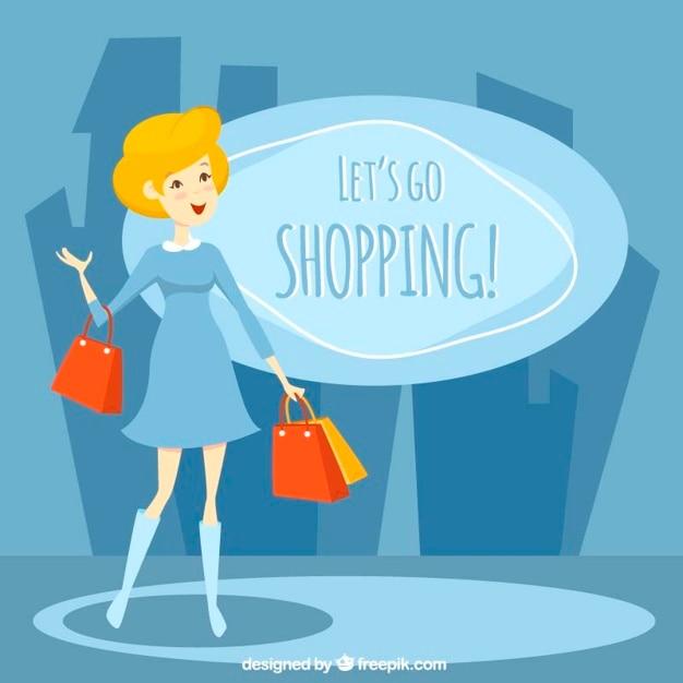 Laten we gaan winkelen, illustratie Vector