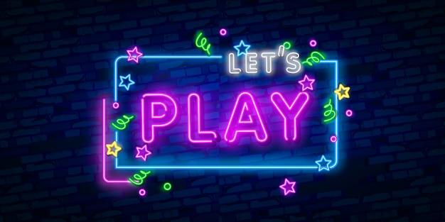 Laten we neonreclame spelen Premium Vector