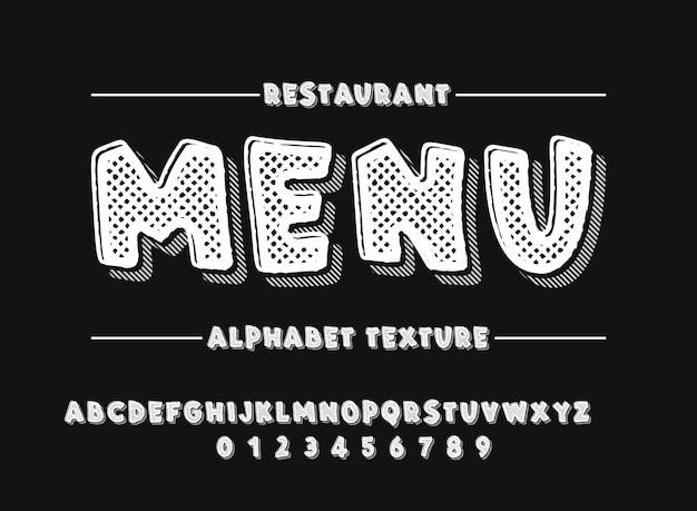 Latijns alfabet. gewaagde doopvont in de leuke witte 3d stijl van de textuurbeeldverhaal Premium Vector