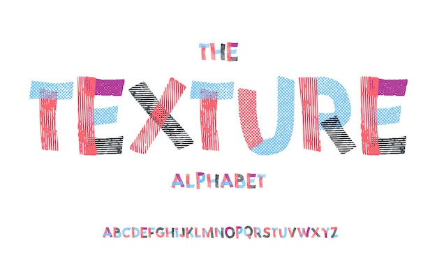 Latijns alfabet. textuurdoopvont in leuke beeldverhaal 3d stijl. Premium Vector