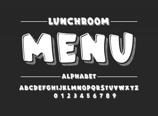 Latijns alfabet. vet lettertype in schattige witte cartoon 3d-stijl Premium Vector