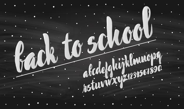 Latijnse alfabetkrijt - kenteken terug naar school. Premium Vector