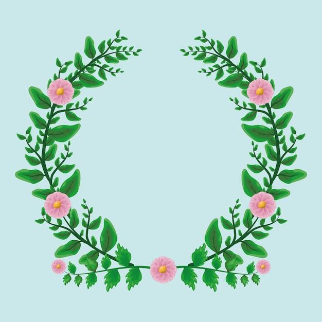 Lauwerkransornament van schoonheids het groene bladeren met roze bloemen over vlakte Gratis Vector