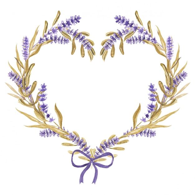 Lavendel bloem hart met lint aquarel Premium Vector