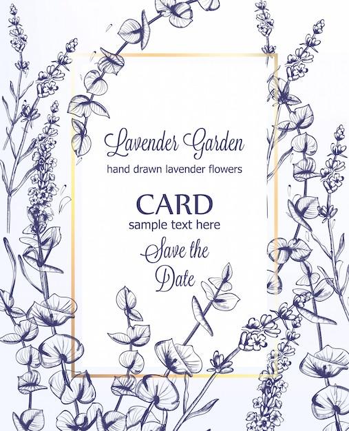 Lavendel bruiloft kaart uitnodiging sjabloon, vintage lijntekeningen Premium Vector