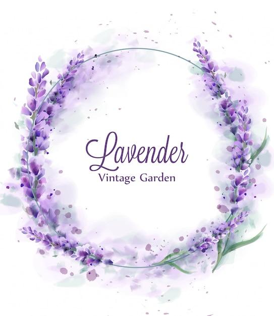 Lavendel krans aquarel splash Premium Vector