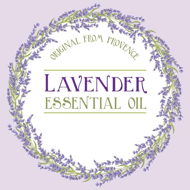 Lavendel krans label etherische olie Premium Vector
