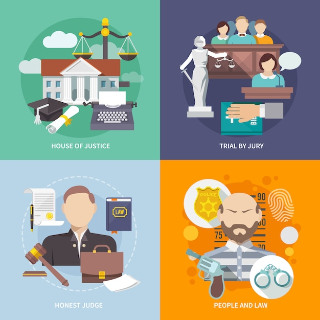 Law icon flat Gratis Vector