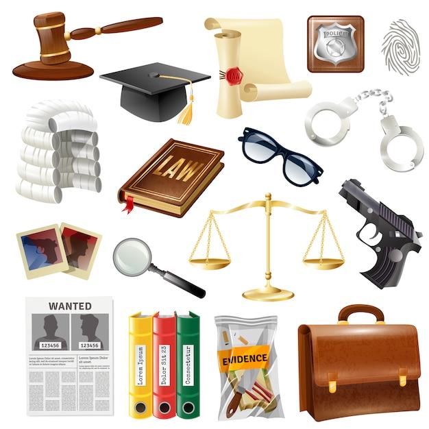 Law justice objecten en symbolen collectie Gratis Vector