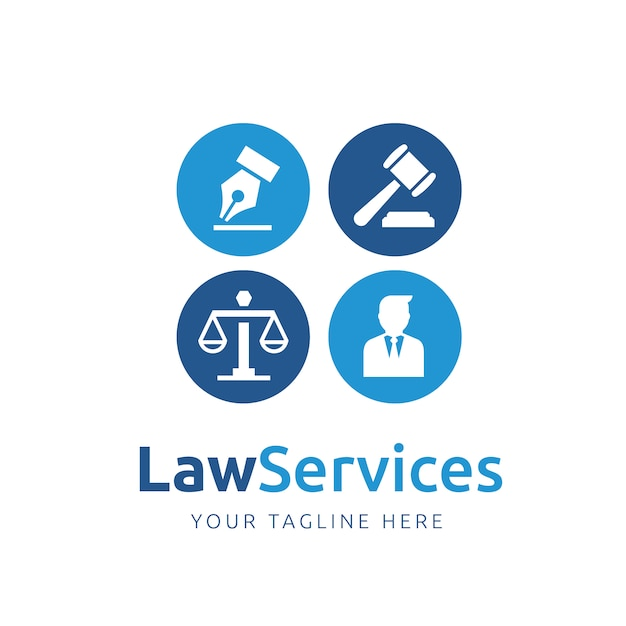 Law logo template ontwerp Gratis Vector