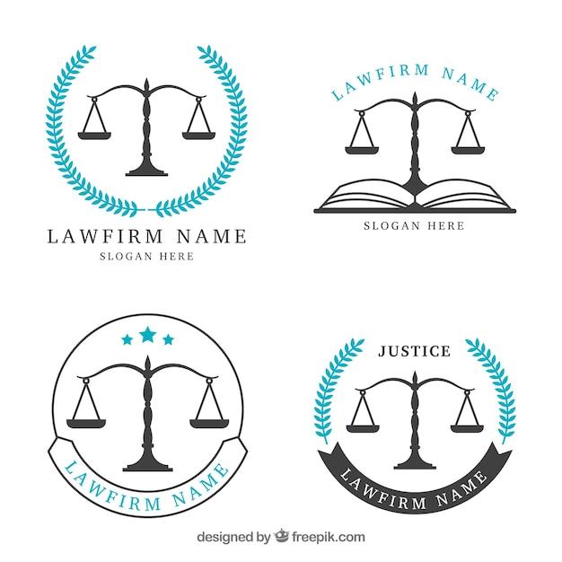 Law logotype ingesteld Premium Vector