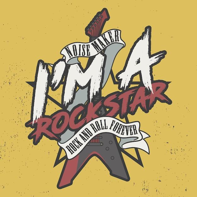 Lawaaimaker ik ben een rockster, voor altijd rock and roll Premium Vector