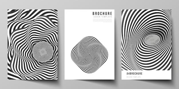 Lay-out van a4-formaat moderne omslagsjablonen voor brochure, abstracte 3d geometrisch Premium Vector