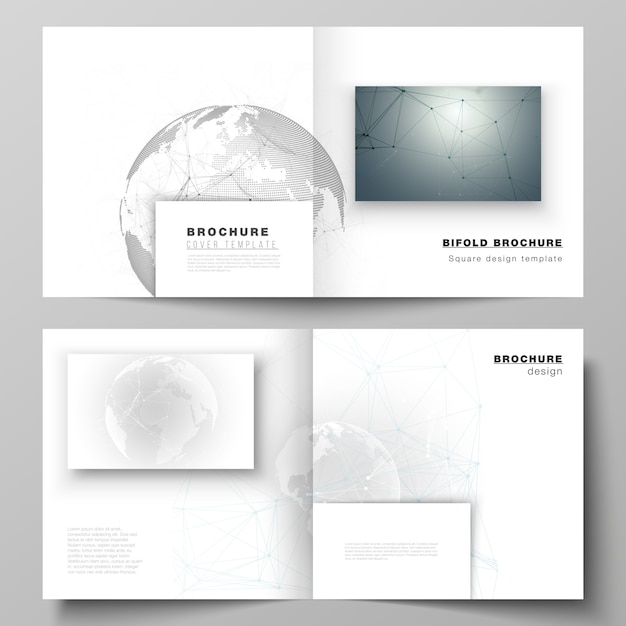 Lay-out van twee coversjablonen voor vierkante tweevoudige brochure, futuristisch geometrisch Premium Vector