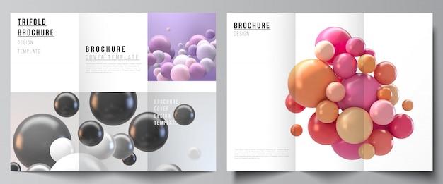 Lay-outs van covers ontwerpsjablonen voor driebladige brochure, flyer-indeling, boekontwerp, brochureomslag, reclame. abstracte futuristische achtergrond met kleurrijke 3d bollen, glanzende bubbels, ballen. Premium Vector