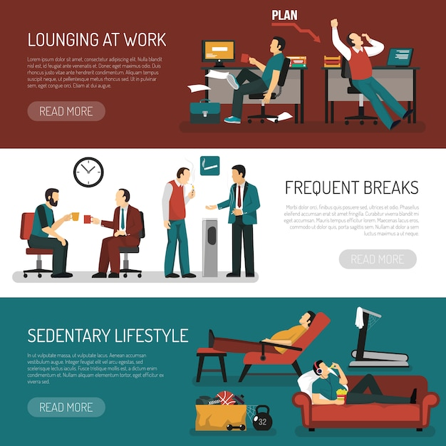 Lazy people banners set Gratis Vector