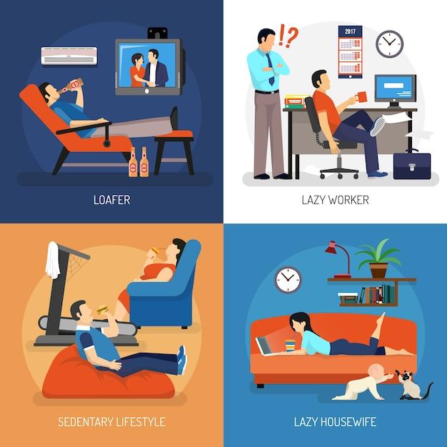 Lazy people-composities Gratis Vector