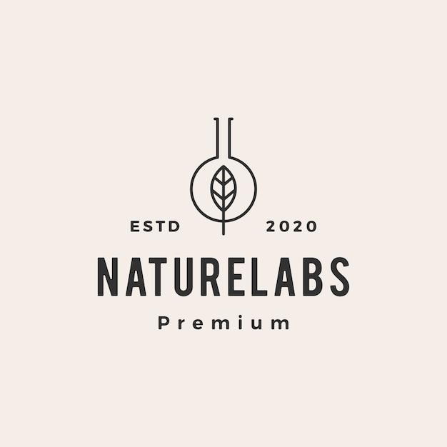 Leaf lab labs hipster vintage logo pictogram illustratie Premium Vector