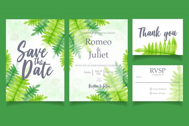Leaf watercolor invitation wedding party card floral sjabloon Premium Vector
