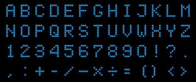 Led digitaal alfabet, lettertype, elektronisch nummer. Premium Vector