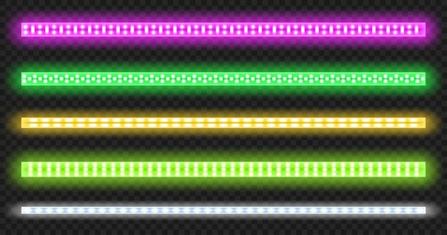 Led strips met neon glow effect geïsoleerd op transparante achtergrond. Gratis Vector