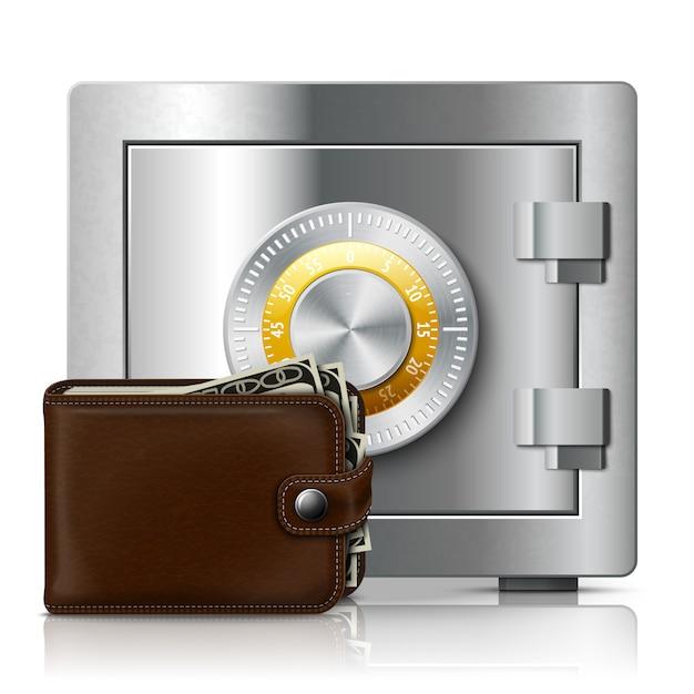 Lederen portemonnee en kluis met codeslot Premium Vector