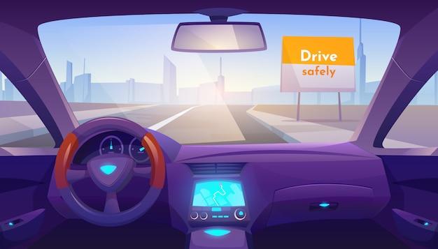 Leeg autobinnenland binnen met gps op dashboard Gratis Vector