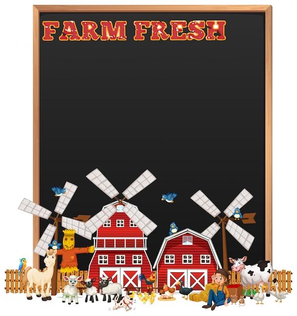 Leeg bord met boerderij vers logo en dierenboerderij set geïsoleerd Gratis Vector