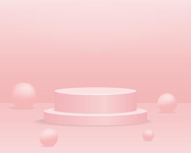 Leeg cilinderpodium op roze achtergrond. abstracte minimale scène met geometrisch vormobject. 3d Premium Vector