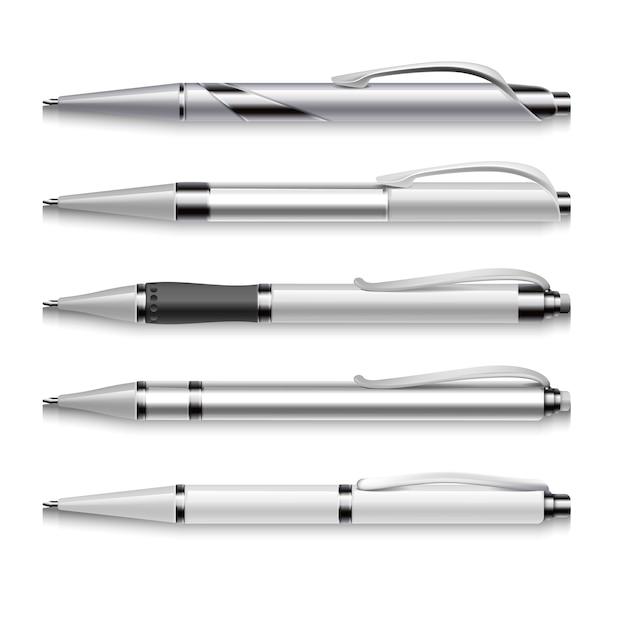 Leeg en metaal vectorpennenmalplaatje op witte achtergrond. set van automatische pennen, illustratie van Premium Vector