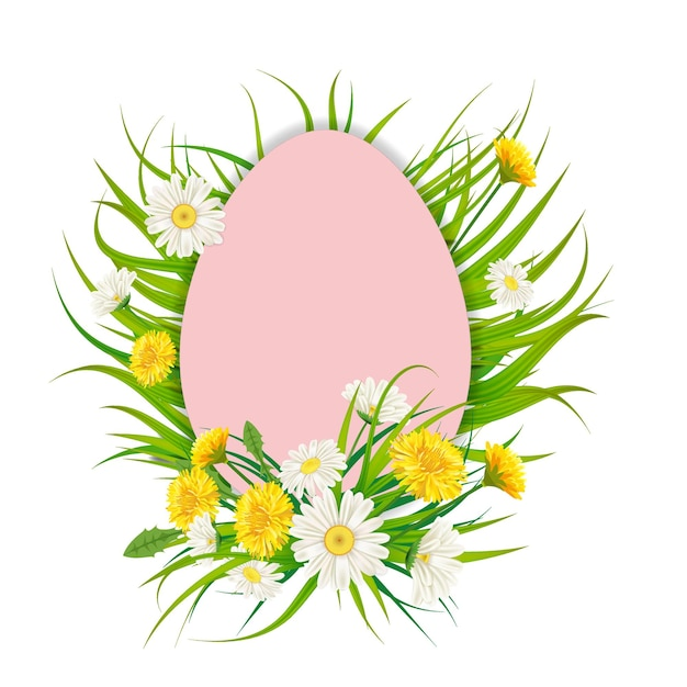 Leeg frame met paasei en bloemen boeket paardebloemen en madeliefjes, chamomiles, gras Premium Vector
