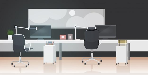 Leeg geen mensen co-working center moderne werkplek open ruimte kantoor interieur Premium Vector