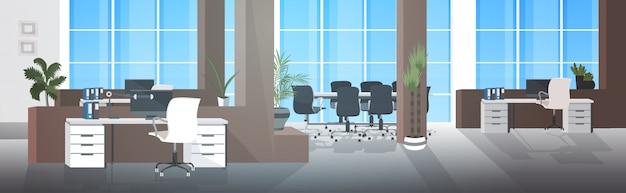 Leeg geen mensen coworking center met vergaderruimte moderne open ruimte kantoor interieur horizontaal Premium Vector