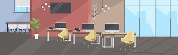 Leeg geen mensen coworking center moderne open ruimte kantoor interieur schets Premium Vector