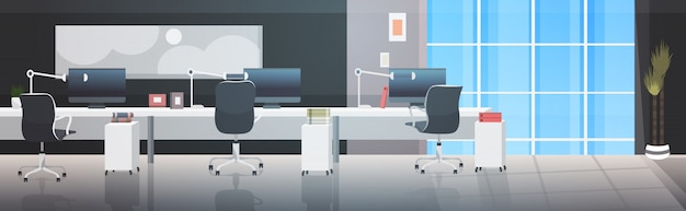 Leeg geen mensen coworking center moderne werkplek open ruimte kantoor interieur Premium Vector