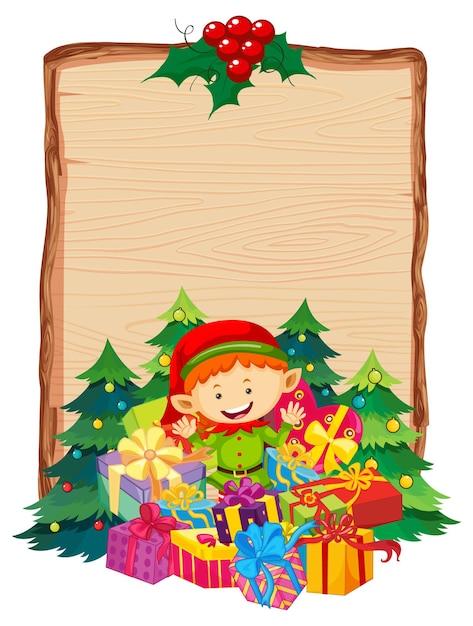 Leeg houten bord met merry christmas 2020-lettertype-logo en elf-geschenk Gratis Vector