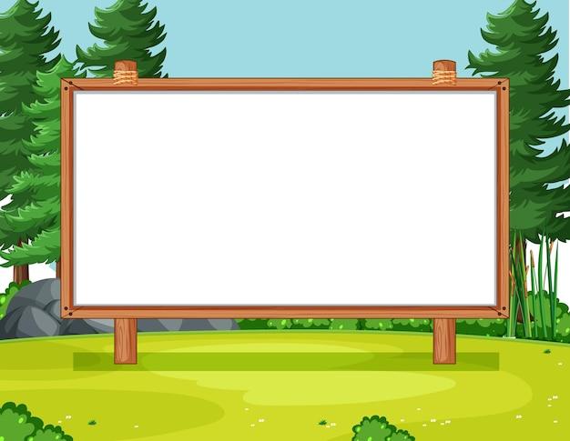 Leeg houten frame in de scène van het natuurpark Gratis Vector