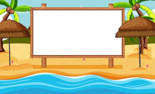 Leeg houten frame in strandscène Gratis Vector