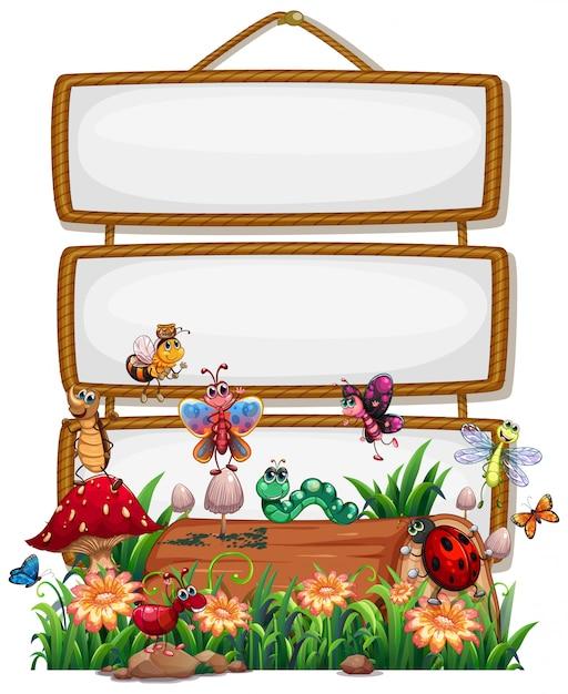 Leeg houten frame met dierlijke geïsoleerde tuinset Gratis Vector