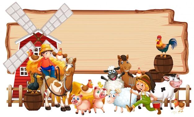 Leeg houten teken met dierlijke geïsoleerde landbouwbedrijfreeks Gratis Vector