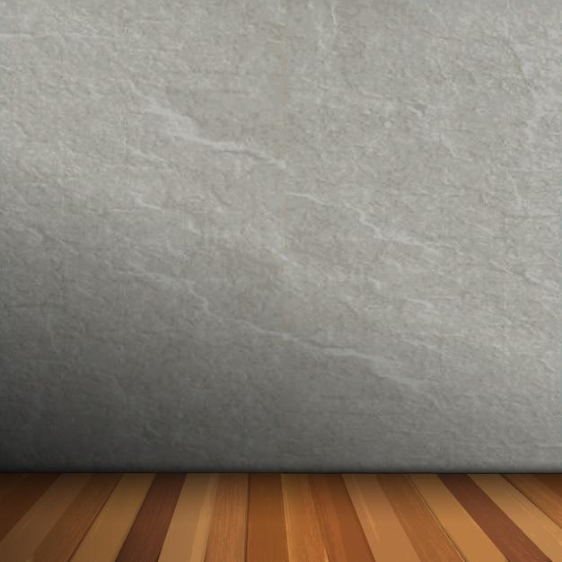 Leeg interieur van vintage kamer met grijze stenen muur en houten vloer Premium Vector